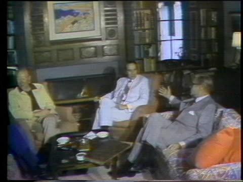 president gerald ford meets with john connally nelson rockefeller and senator bob dole in vail colorado - john connally stock videos & royalty-free footage
