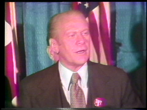 vídeos de stock, filmes e b-roll de president gerald ford says that as long as he is president our country will not recognize the soviet union's domination of eastern europe - (war or terrorism or election or government or illness or news event or speech or politics or politician or conflict or military or extreme weather or business or economy) and not usa