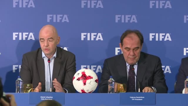 president gianni infantino and turkish football federation's president yildirim demiroren attend fifa football summit on november 23, 2017 in... - fifa stock videos & royalty-free footage