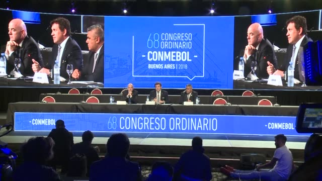 vídeos de stock, filmes e b-roll de fifa president gianni infantino defends the use of video arbitration during the 68th south american football confederation meeting in buenos aires - gianni infantino