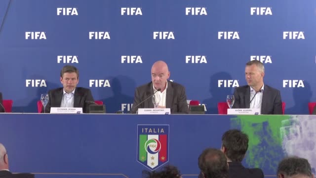 fifa president gianni infantino has hailed as promising the use of video replays for the first time during france's 31 friendly win over italy in... - gianni infantino stock videos and b-roll footage