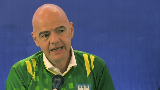 president gianni infantino reiterates the global soccer body's commitment against racism in football saying it has no place in the game during a... - fifa stock videos & royalty-free footage