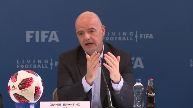 "vídeos de stock, filmes e b-roll de president gianni infantino said friday that turkey could host major football events including the world cup turkey can host major football events""... - gianni infantino"