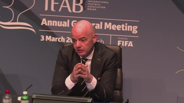 vídeos de stock, filmes e b-roll de president gianni infantino said on saturday at a press conference at fifa headquarters in zurich that the decision on var for the world cup in russia... - gianni infantino
