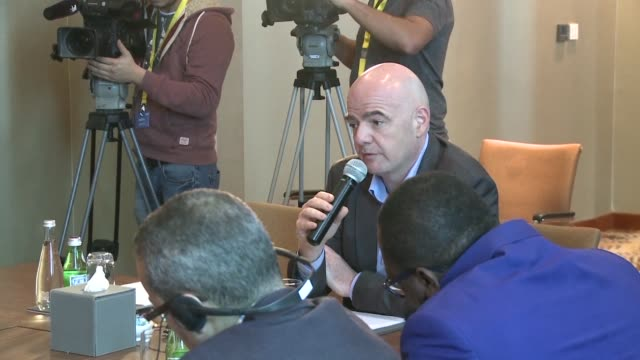 vídeos de stock, filmes e b-roll de fifa president gianni infantino said thursday he was not worried about hooliganism at next year's russia world cup amid growing fears the tournament... - gianni infantino