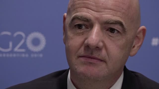 fifa president gianni infantino speaking on the sidelines of the g20 leaders' summit hails the positive contribution immigration has in football... - gianni infantino stock videos and b-roll footage