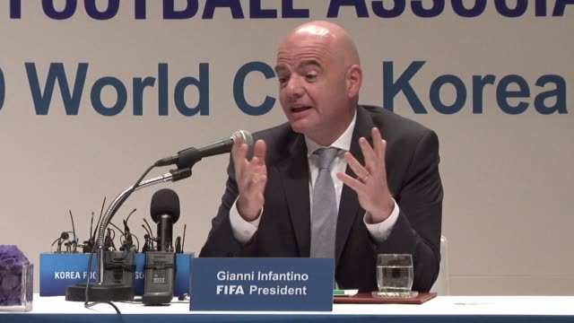 president gianni infantino suggests a football match between north and south korea as a way of easing hostility on the divided peninsula - fifa stock videos & royalty-free footage