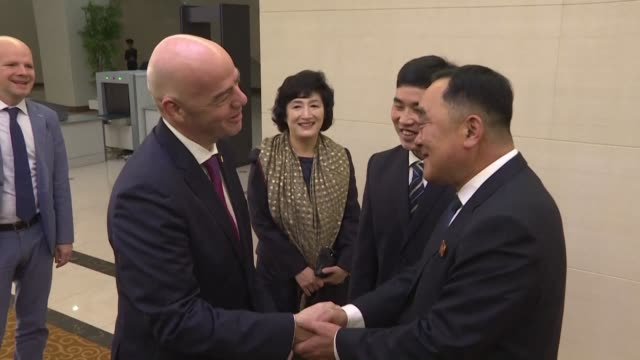 vídeos de stock, filmes e b-roll de president gianni infantino touches down in pyongyang for tuesday's world cup qualifier between north and south korea two countries technically still... - gianni infantino