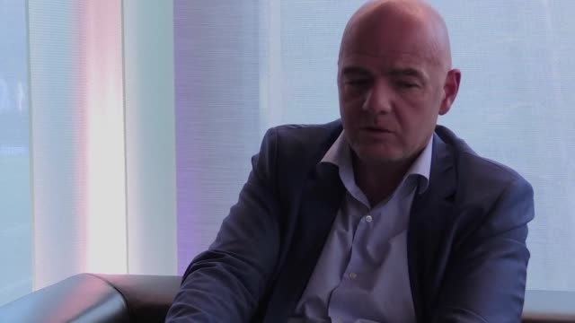 vídeos de stock, filmes e b-roll de fifa president gianni infantino will make finding a solution to the bitter dispute over israeli football clubs playing inside the occupied west bank... - gianni infantino