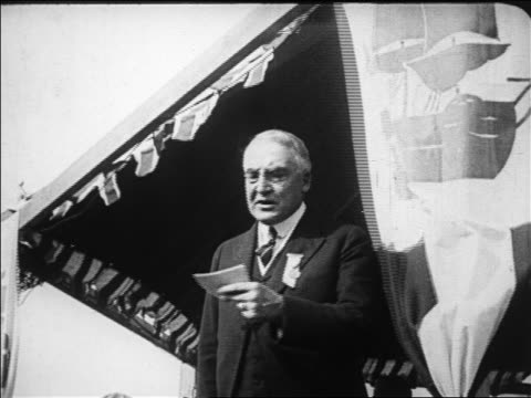 president harding giving speech gesturing / plymouth massachusetts / newsreel - 1923 stock videos & royalty-free footage