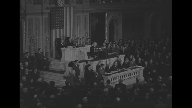 us president harry s truman addresses a joint session of the us congress as he makes his first speech since the death of his predecessor franklin... - joint session of congress stock videos and b-roll footage
