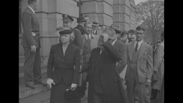 stockvideo's en b-roll-footage met president harry s truman and wife elizabeth virginia bess truman decar at us capitol stand on steps for photos walk up steps to building as they... - margaret truman