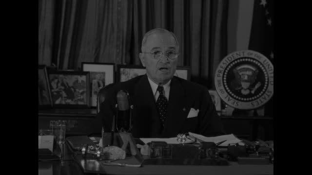 president harry s. truman at desk in oval office / various close ups of truman during sot re: decision not to undergo military action against the... - harry truman stock videos & royalty-free footage