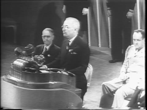 President Harry S Truman at podium concludes his speech to the United Nations delegation / Truman speaks about the need to take the chance to work on...