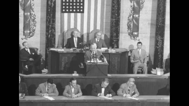 president harry s truman at podium with vice president alben barkley behind him addresses congress on the importance of steel production for defense... - strike industrial action stock videos & royalty-free footage