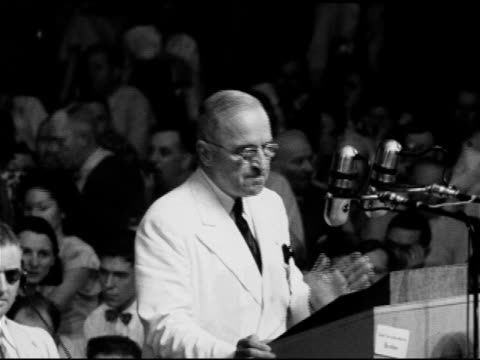 president harry s truman behind podium saying republican platform comes out for slum clearance low rental housing been trying to get that housing... - harry truman stock videos and b-roll footage