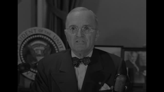 president harry s truman during radio/television address in this situation together we must be prepared to make some sacrifice in our own standards... - korean war stock videos and b-roll footage