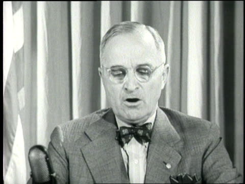president harry s. truman gives his famous speech about the imminent attack on japan. - harry truman stock videos & royalty-free footage