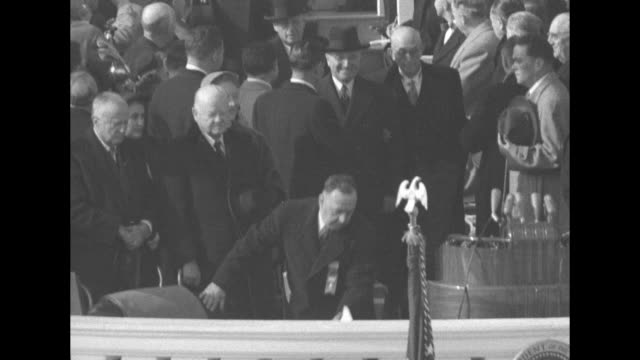 president harry truman and other officials stepping onto east portico to join crowd there he stands briefly for photo opportunity then continues on... - sam rayburn video stock e b–roll
