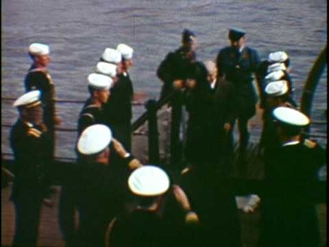 ms ha composite president harry truman arriving on board of naval vessel greeting with army officers new york city new york state usa - 背広点の映像素材/bロール