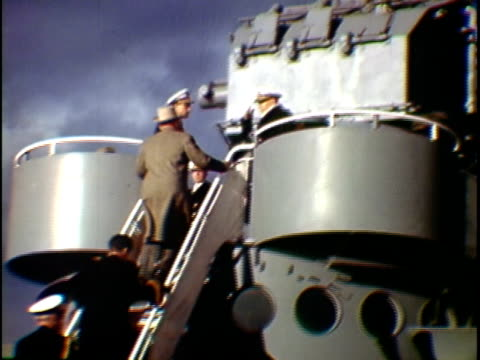 ms la tu composite president harry truman greeting soldiers from top of uss missouri naval vessel new york city new york state usa - uss missouri stock videos and b-roll footage