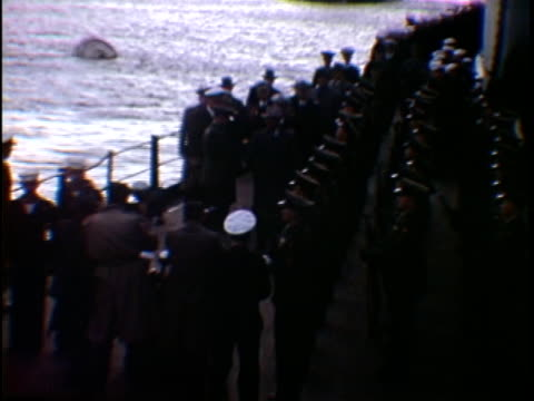 ms ha president harry truman greeting soldiers on uss missouri naval vessel new york city new york state usa - uss missouri stock videos and b-roll footage