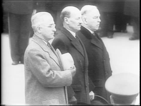 president harry truman prime minister clement attlee and canadian prime minister william king approach the tomb of the unknown soldier / sailors... - armistice day stock videos and b-roll footage
