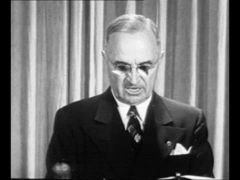 president harry truman regarding korean war we are united in detesting communist slavery we know that the cost of freedom is high but we are... - korean war stock videos & royalty-free footage