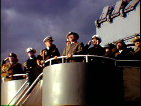 ms la composite president harry truman watching military aircraft flying over in formation from uss missouri naval vessel new york city new york... - uss missouri stock videos and b-roll footage