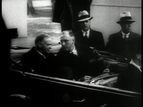 ms president herbert hoover franklin d roosevelt in convertible car secret service ha ws car driving off la ms fdr taking oath ha xws us capitol... - 1933 stock videos & royalty-free footage