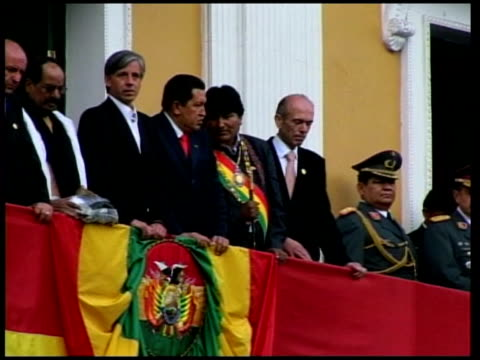 president hugo chavez and tensions with the us; tx 23.1.2006 bolivia: la paz: evo morales on balcony at his inauguration ceremony, alongside chavez - evo morales stock videos & royalty-free footage