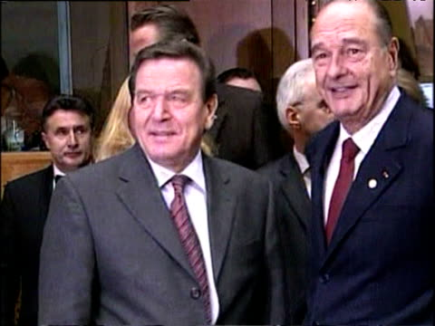 president jacques chirac and chancellor gerhard schroeder at eu summit brussels 17 dec 04 - global communications stock videos & royalty-free footage