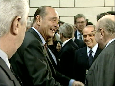 president jacques chirac shakes hands with nato delegates brussels 13 jun 01 - global communications stock videos & royalty-free footage