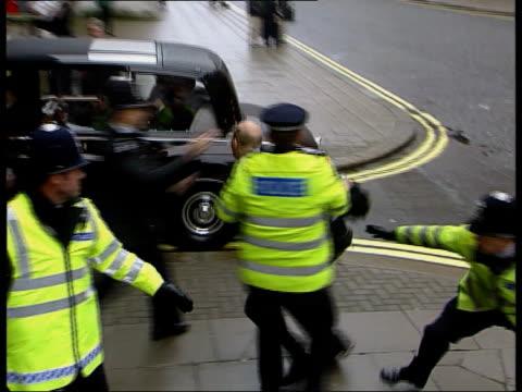 President Jiang Zemin visit Day 3 ENGLAND London Whitehall Protestors demonstrating against visit of Chinese President Jiang Zemin as man jumps in...