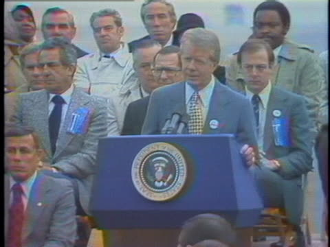 president jimmy carter, campaigning for democratic candidates at buffalo airport, comments on the israeli settlements on the west bank and conflict... - 1978 stock videos & royalty-free footage