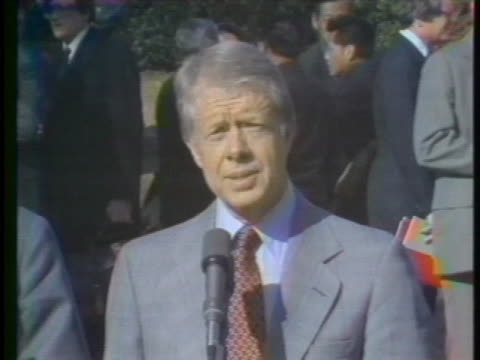 us president jimmy carter comments on his talks with chinese political leader teng hsiaoping - symbiotic relationship stock videos & royalty-free footage