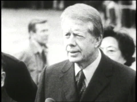 president jimmy carter discusses the need to normalize relations with china. - jimmy carter us president stock videos & royalty-free footage