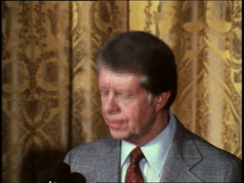 president jimmy carter gives speech to commemorate the 30th anniversary of the universal declaration of human rights. president carter on human... - jimmy carter us president stock videos & royalty-free footage