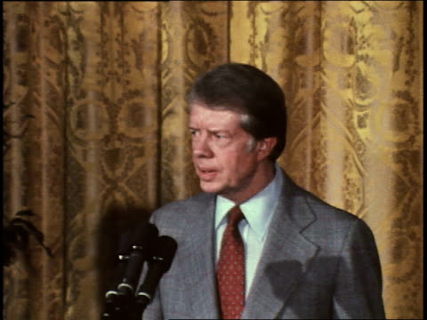 president jimmy carter gives speech to commemorate the 30th anniversary of the universal declaration of human rights president carter on human rights... - jimmy carter präsident stock-videos und b-roll-filmmaterial