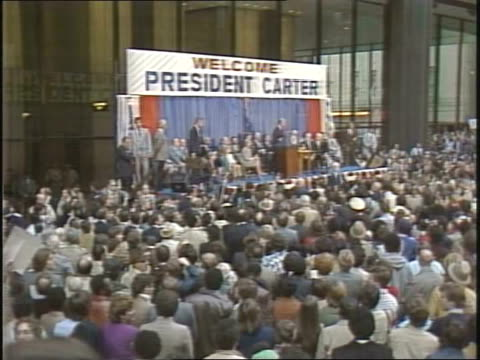 president jimmy carter makes a visit to chicago president jimmy carter at podium in chicago on october 06 1980 in chicago illinois - us president stock videos & royalty-free footage