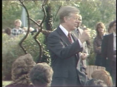 president jimmy carter makes a visit to chicago. president jimmy carter gives speech in chicago on october 06, 1980 in chicago, illinois - jimmy carter us president stock videos & royalty-free footage