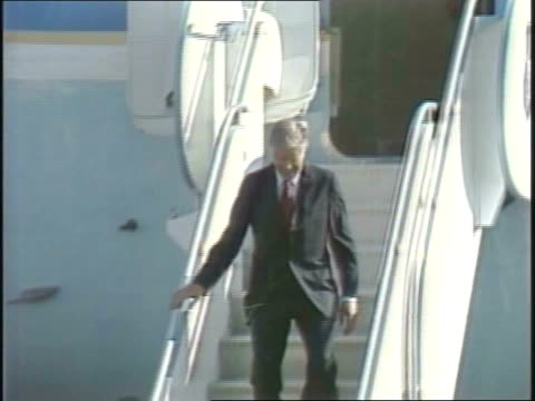 president jimmy carter makes a visit to chicago president jimmy carter getting off airplane on october 06 1980 in chicago illinois - president stock videos & royalty-free footage