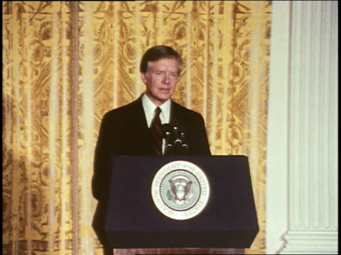 president jimmy carter speaks at a white house press conference about the head start program president carter on head start program on march 12 1980... - jimmy carter präsident stock-videos und b-roll-filmmaterial