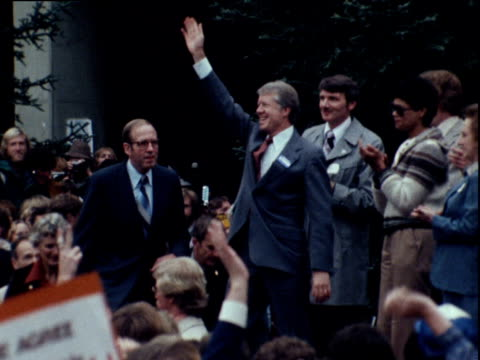 president jimmy carter waves at supporters during mid term election campaign sacramento california; 06 nov 78 - jimmy carter us president stock videos & royalty-free footage