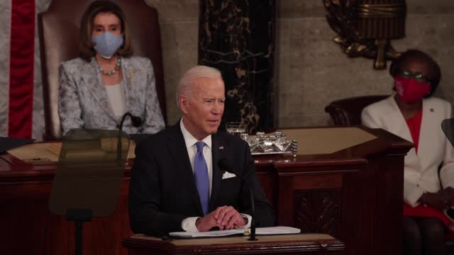 president joe biden addresses a joint session of congress in the house chamber of the u.s. capitol on april 28 in washington, dc. on the eve of his... - united states congress stock videos & royalty-free footage