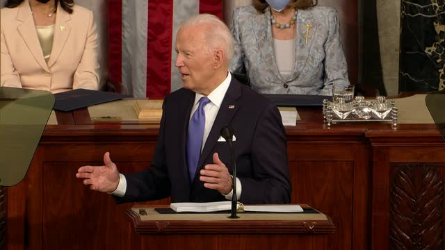 president joe biden tells a joint session of congress that over 1 million new jobs were created in 100 days, more than any president on record, the... - bridge built structure stock videos & royalty-free footage