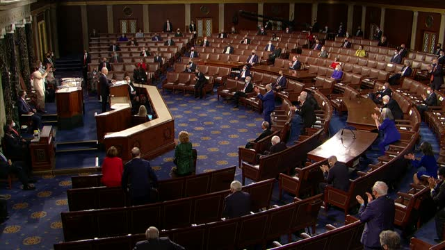 president joe biden tells joint session of congress that in 100 days in office, an additional 800,000 americans had enrolled in the affordable care... - united states congress stock videos & royalty-free footage