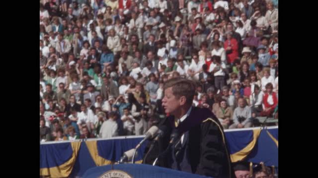 president john f. kennedy ascends podium speaks at uc berkeley convocation - speech stock videos & royalty-free footage
