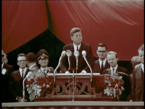 president john f kennedy delivers his famous ich bin ein berliner speech to a wildly enthusiastic crowd in berlin west germany - speech stock videos & royalty-free footage