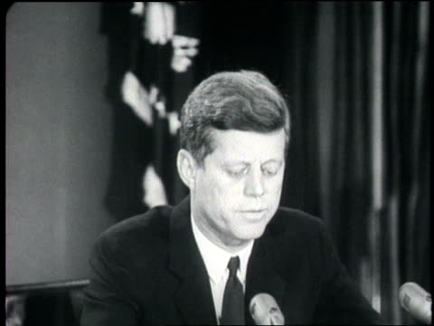 us president john f kennedy gives a speech about the cuban missile crisis - john f. kennedy us president stock videos and b-roll footage